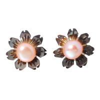 925 Sterling Silver Shell Pearl Flower  Women Jewelry Stud Earrings 10mm SE022