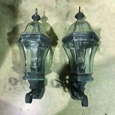 "Two Traditional Outside Leaded Copper Porch Lanterns 12"" x 30"""