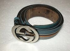 Authentic Gucci G Unisex Fabric and Leather Multicolor Belt 90-36