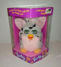Vtg Tiger FURBY Gray w/Black Spots Pink Ears Chest Mohawk Tail New in Box 1998