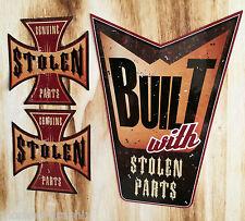 "Biker Aufkleber Set 3St. ""Stolen Parts"" Harley / Chopper / Bobber British Race"