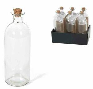 Set of 6 Large Round Glass Bottles & Cork Clear Perfume Liquor Bottles 490ml