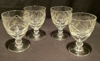 4 QUALITY VINTAGE CUT GLASS SHORT STEM WINE SHERRY PORT CRYSTAL APERITIF LIQUEUR