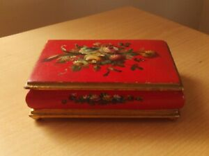 Vintage Hand Painted Wooden Trinket Box Red & Gold With Floral Design.
