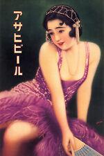 VINTAGE Oriental Art Print-asiatica Geisha Giapponese Asahi Beer Pubblicità Poster