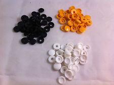 48 Fermagli di plastica nylon Hinged Screw COVER CAPS FLIP TOP BIANCO NERO GIALLO