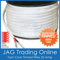 1M x 4mm MARINE GRADE TINNED 2-CORE TWIN SHEATH WIRE -BOAT/AUTO ELECTRICAL CABLE
