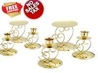 Victoria Lynn Unity Candle Holder 3-Piece Set w/ 2 Taper Pillar Ellegant Gold