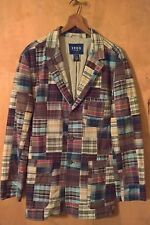 IZOD Three Button Madras Patchwork Blazer Jacket Sport Coat Size Medium