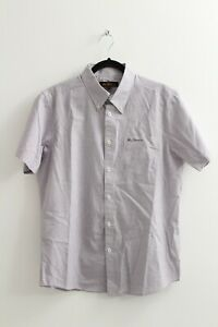 BEN SHERMAN MENS BUTTON DOWN SHORT SLEEVED CHECK SHIRT SIZE LARGE