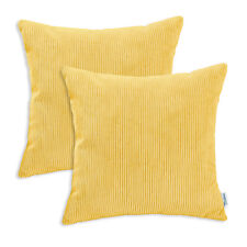 "2Pcs Bright Yellow Cushion Covers Cases Shell Home Decor Corduroy Stripes 18x18"""