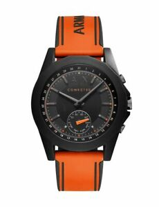 Armani Exchange Men's Hybrid Smartwatch Orange Silicone Strap 44mm Watch AXT1003