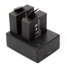 2x 900mAh Battery + Dual Charger Fr SJCAM SJ4000 SJ5000 SJ8000 Action Cam Camera