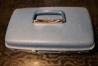 Vintage Samsonite Burgundy Blue Train Luggage Makeup Travel Vanity Hard Case
