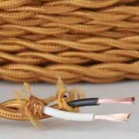 GOLD ~ Antique Look TWISTED Cloth Covered Fabric Lamp Wire ~ Price Per Foot