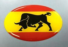 SPANISH BULL Sticker/Decal - 75mm OVAL WITH HIGH GLOSS DOMED GEL FINISH - SPAIN