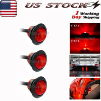 """3x 3/4"""" Auxiliary Rear Brake LED Marker Light Red Truck Trailer Stop Tail Light"""