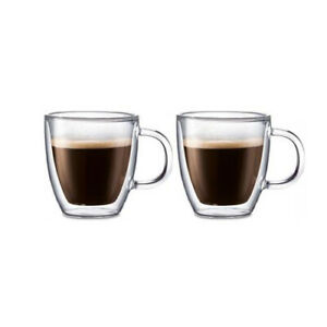 New 2pc Double Wall 200ml  Coffee Mug with Handle