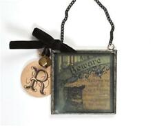 Vintage Glass Framed Beware Ornament Charm
