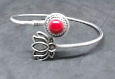 Bangle In Silver Setting Genuine Red Coral Gemstone