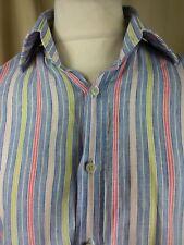 """Boden 100% Linen Candy Striped Shirt  Collar 16.5"""" Chest 48"""""""