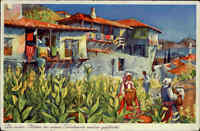 Bulgarien ~1937 Tabak Dorf in Dupniza Thema Rauchen AK gelaufen nach Chemnitz
