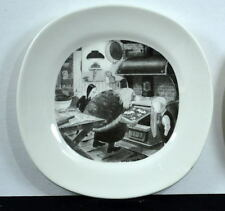 "CHAS ADDAMS FAMILY 8"" PLATE GRAND MAMA BAKING COOKIES for WEDNESDAY & PUGSLEY"