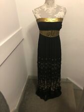 Spotlight By Warehouse Silk Black And Gold Long  Dress Size 10