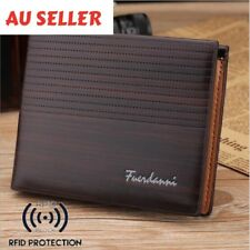 Men's Brown Leather RFID Blocking Wallet ! AU STOCK!