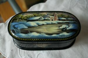 Russian Wooden Lacquer Trinket Box ''Winter'' Mother of Pearl by Samoylova