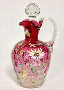 Antique Moser Quality Cranberry Rubina Glass Enameled Jug Pitcher Enamel Floral