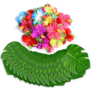 60Pcs Tropical Party Decorations Supplies Tropical Palm Leaves ,Hibiscus Flowers