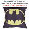 "18x18 18"" 18in BATMAN Zippered Throw Pillow Case Cushion Disney Marvel DC Comic"
