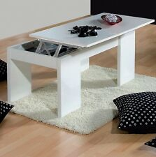 Lucia White 3D Textured Modern Coffee Table Lift Up Storage Lounge Riser