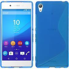 Silikon Hülle für Sony Xperia Z3+ / Plus blau S-Style + 2 Schutzfolien