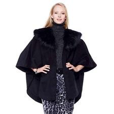 NWT A by Adrienne Landau Black Cashmere-Like Cape-Removable Faux Fur Collar-S