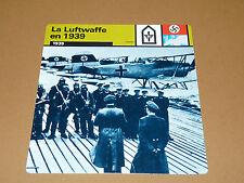 LA LUFTWAFFE EN 1939 PHOTO HYDRAVIONS RECONNAISSANCE AVIATION FICHE WW2 39-45