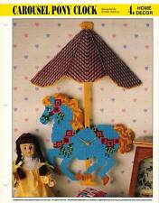 CAROUSEL PONY CLOCK HORSE PLASTIC CANVAS PATTERN INSTRUCTIONS