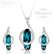 18K White GOLD GF Indicolite BLUE NECKLACE SET with Swarovski CRYSTAL TE603