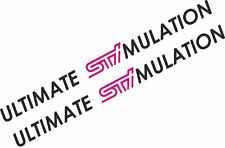 2 X Ultimate Stimulation Subaru Impreza Long STI Car Vinyl Sticker Graphic Decal