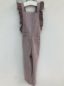 BNWT Zara Infant Girls Age 3-4 Cotton Dungarees Frill Soft Pastel Lilac