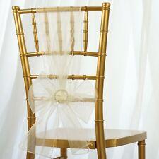 50/PK ~NEW~ Sheer Organza Chair Sash Bow Wedding Party Banquet 20+ Colors!
