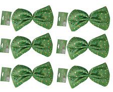 6 x grün Dicky Fliege St Patricks-Tag Irisch Kostüm Gold Kleeblätter 0202