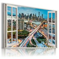 """3D NEW YORK Window View Canvas Wall Art Picture Large SIZE 30X20"""" W236"""