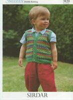 "Vintage Knitting Pattern Sirdar Snuggly DK Boys Waistcoat 16 - 24"""