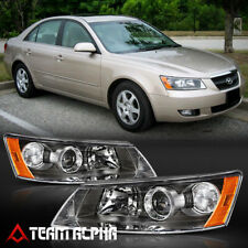 "For 2006-2008 Hyundai Sonata /'KDM STYLE/"" Black Front Headlights Headlamps PAIR"