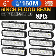 8pcs Work Lights Spot Flood LED Light Bar Reverse 4WD SUV Off-road 6'' inch Lamp