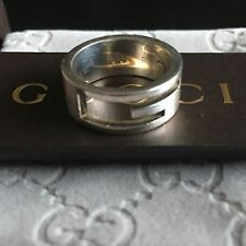 Autentico Gucci Sterling Silver Ring SZ 12, L 1/2. leggermente usurato.