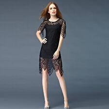 Elegante vestito abito tubino pizzo morbido cintura scollo nero scollatato 3949