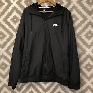Nike Mens Size XL Black Windrunner Zip Up Hooded Jacket
